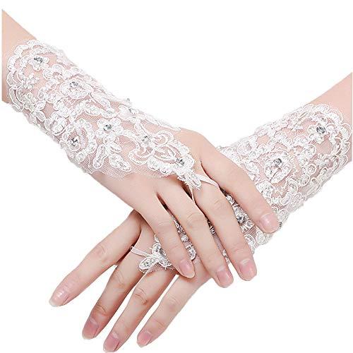 Beautydress Short Lace Fingerless Rhinestone Bridal Gloves for Wedding Party 155, White, One Size ()