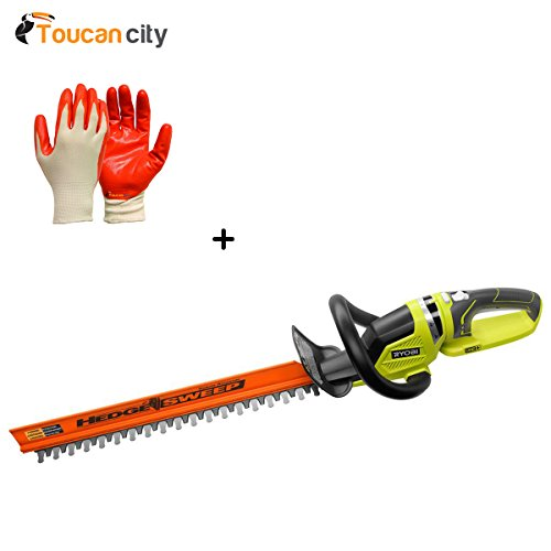 Ryobi 22'' 18-Volt Lithium-Ion Cordless Hedge Trimmer Battery and Charger Not Included P2606B and Toucan City Nitrile Dip Gloves (5-Pack) by Toucan City