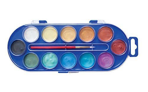 - Jack Richeson metallic semi moist watercolor set with brush,Assorted Pearlescent Color (12 colorset)