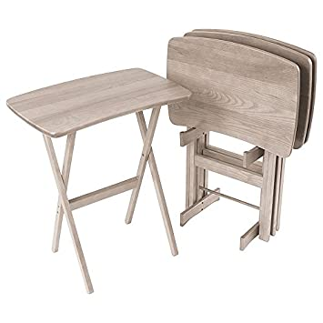 tv tray set. Wood Folding TV Trays Set Of 4, Contemporary - Driftwood Grey Tv Tray P