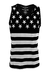 Patriotic American Flag Stars All Over Tank Top Shirt MT8939 Navy S