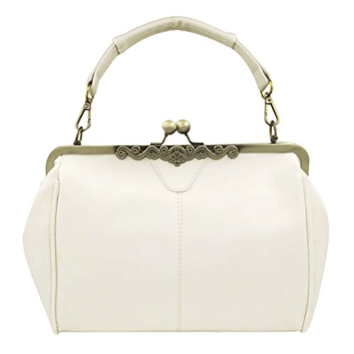Womens Wholesale Handbags (Donalworld Women Retro Hollow out Leather Shoulder Handbag Beige)