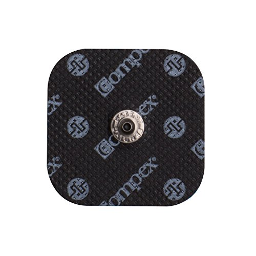 Compex Easy Snap Electrodes 2in x 2in for Edge, Performance, Sport Elite, Wireless Muscle Stimulators - 5 Pack (20 Electrodes) - Black ()