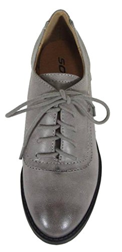 Soda Oxford Chunky Up Wingtip Block Heel Stacked Rubpu Charcoal Lace Women's g8rqw8C