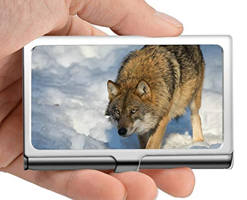 (Professional Business Card Holder Stainless Steel,Snow Wildlife Predator Winter Wolf Business Card Holder Wallet Credit Card ID Case)