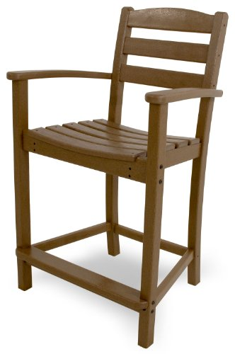 (POLYWOOD TD201TE La Casa Café Counter Arm Chair, Teak)