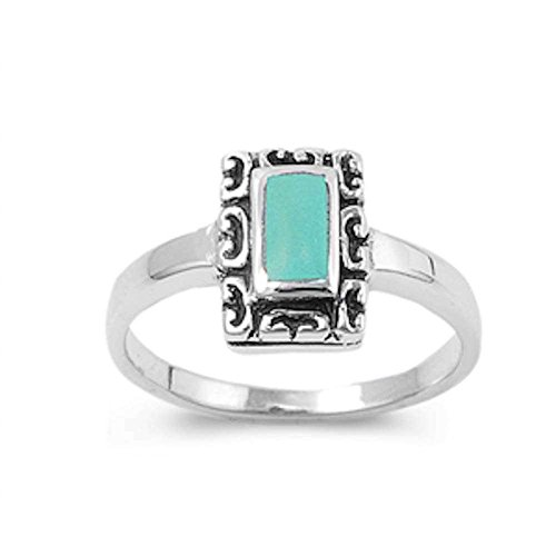 Rectangular Shape with Simulated Turqouise .925 Sterling Silver Ring Size 10
