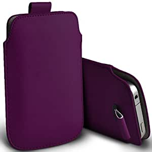 ( Dark Purple ) Huawei Ascend G7 Protective Stylish Fitted Faux Leather Pull Tab Pouch Skin Case Cover by ONX3