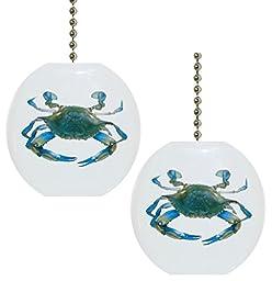 Set of 2 Blue Crab Nautical Solid CERAMIC Fan Pulls