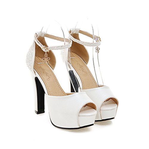 SHINIK Women's Shoes PU Summer Comfort Heels Pump Heels Stiletto Heel Buckle For Casual White, Black, Blue, Pink (Color : D, Size : 37)