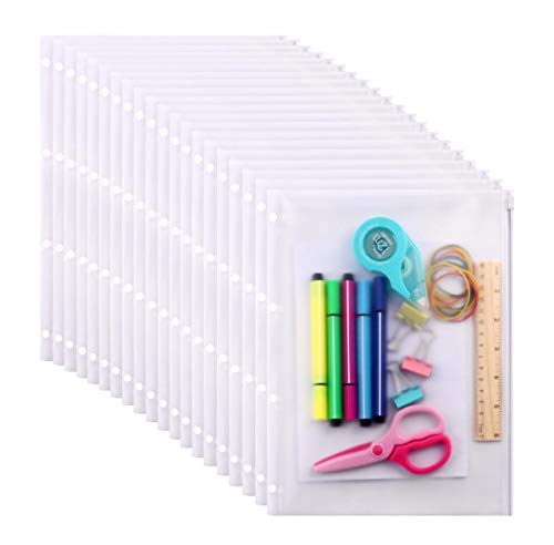 LaOficina 4 Rings Clear Zipper Binder Pocket Insert Pages for Binders 20 Per Pack,11.3