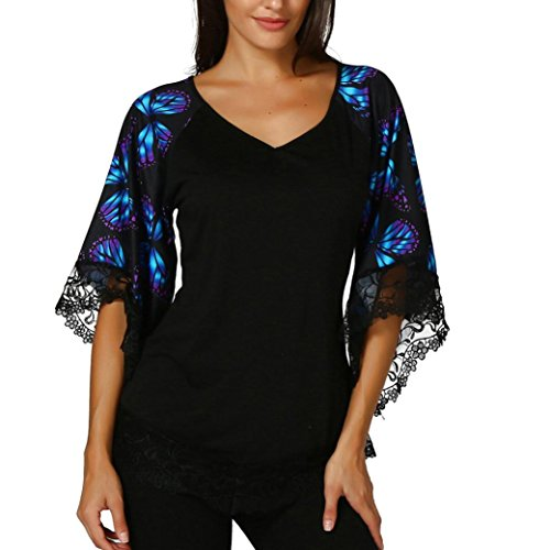 OWMEOT Womens Butterfly Raglan Sleeve Half T-Shirt with Lace Trim Top Blouse (Black, XL)