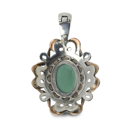 Carolyn Pollack Sterling Silver Green Turquoise Pendant Enhancer by Carolyn Pollack (Image #2)