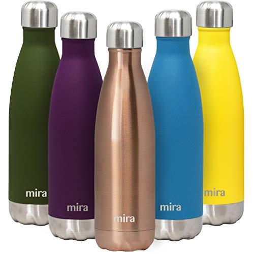 MIRA 17 Oz Stainless Steel Vacuum Insulated Water Bottle | Double Walled Cola Shape Thermos | 24 Hours Cold, 12 Hours Hot | Reusable Metal Water Bottle | Leak-Proof Sports Flask | Rose Gold