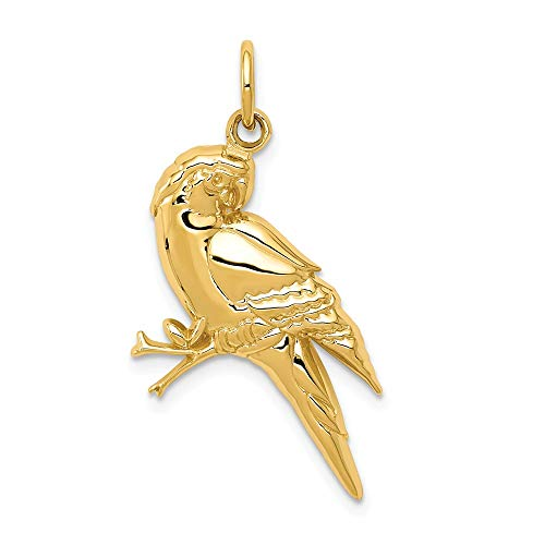 - 14k Yellow Gold Parrot Pendant Charm Necklace Bird Fine Jewelry Gifts For Women For Her