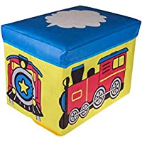 Choo Choo Train Collapsible Storage Organizer by Clever Creations | Blue, Red, & Yellow Folding Storage Ottoman for Bedroom | Perfect Size Box for Books, Clothes, Electronics, and Gadgets