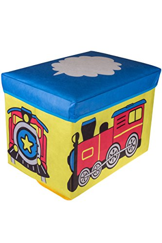 Choo Choo Train Collapsible Storage Organizer by Clever Creations | Blue, Red, Yellow Folding Storage Ottoman for Bedroom | Perfect Size Box for Books, Clothes, Electronics, and Gadgets