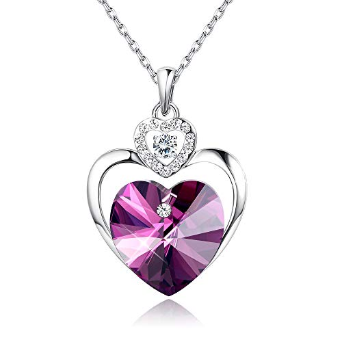 (Sllaiss Love Heart Pendant Necklaces for Women Made with Swarovski Crystals 16 White)
