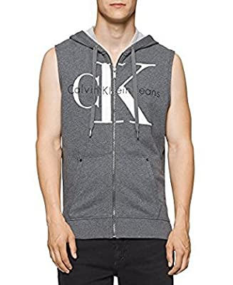 Calvin Klein Jeans Men's Reissue Full Zip Sleeveless Ck Logo Hoodie