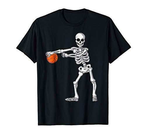 Flossing Skeleton Basketball Funny Halloween TShirt Dance -