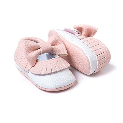 Rose Filles Garcons 6 Cuir 12 Bobora Pas Chaussons Chaussures 12 Pour Avec En Premiers Tassel 18mois 6 Blanc Souple 0 Bebe 0q0wRYSC