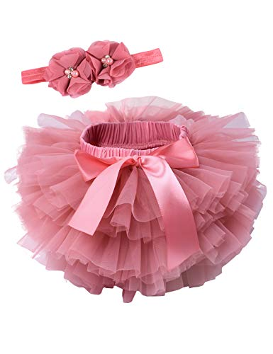 Baby Girls Tutu Bloomers Diaper Cover Cotton Tulle Bloomers and Headband Set Coral 6-12 Month ()
