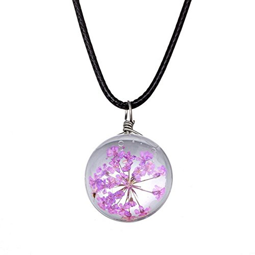 Mixed Flower Easel (Winter's Secret Handmade DIY Rope Chain Round Shape Purple Dried Flower Pendant Crystal Glass Charming Choker Necklace)