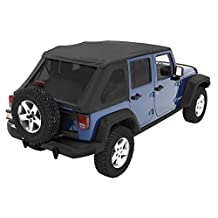 Bestop® 56823-35 Black Diamond Trektop™ NX Complete Replacement Soft Top with No Doors Included- Tinted Windows-  2007-2012 Jeep Wrangler Unlimited