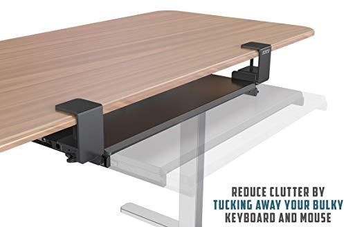 Clamp On Keyboard Tray Office Under Desk Ergonomic Desks Wood Clamps Wrist Rest Pad Mouse Drawer Slides Computer Shelf Table Desktop Extender Pull Out Workstation Platform Large Surface 26 inch by Defy Desk (Image #6)