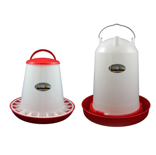 12 Litre Economy Drinker and 6kg Economy Feeder Red and White Set Country Fayre (UK) Ltd PW03-0045