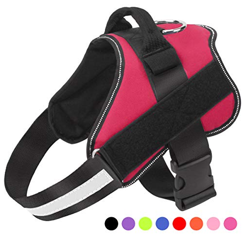 Dog Harness No Pull Reflective Adjustable Pet Vest with Handle for Outdoor Walking - No More Pulling, Tugging or Choking(Red,S)