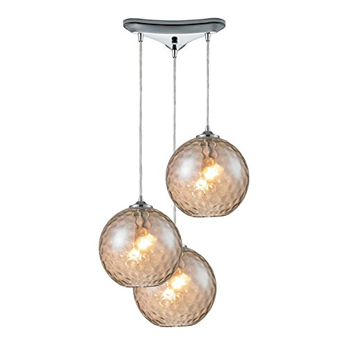 Watersphere 1 Light Pendant (Elk 31380/3CMP HGTV Home Watersphere 3-Light Pendant with Champagne Glass Shade, 10 by 6-Inch, Polished Chrome Finish)