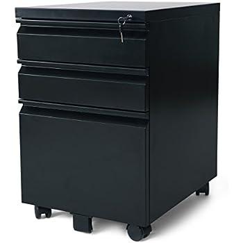 Amazon.com : DEVAISE 3 Drawer Mobile File Cabinet with Lock, Black ...