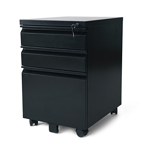 DEVAISE 3 Drawer Mobile File Cabinet with Lock, Black - Black Filing Storage Cabinet
