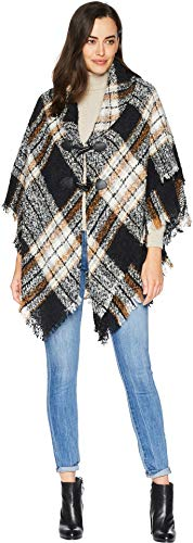 - Collection XIIX Women's London Boucle Plaid Toggle Shawl, black, One Size