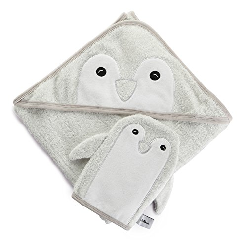 Luxury Organic Baby Towel and Washcloth Set | Bamboo Baby Bath Towels with Hood 2x as Thick and Soft |Sized 36x36 for Infant, Toddler, Child | Antibacterial and Hypoallergenic |Boy or Girl (Penguin Hamper)