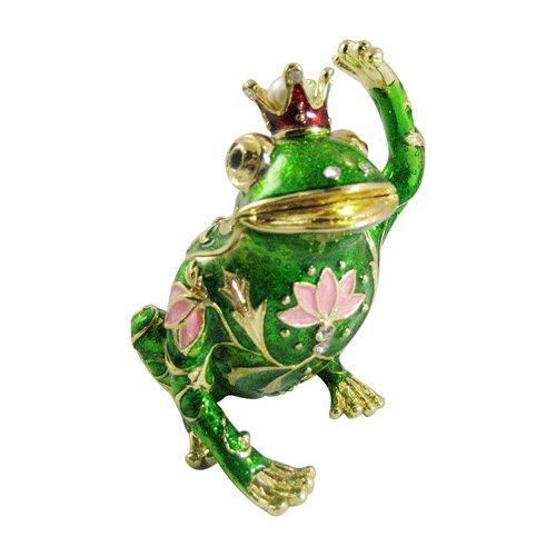 [NEW] Jewelry Trinket Box Figurine Case Vintage Collectible for Keepsake Art Decor Holder Organizer Pill Box - Magnet Secured Storage, Jeweled w/ Swarovski Crystals ( Frogs ) (King Frog Hello) (Jeweled Frog)