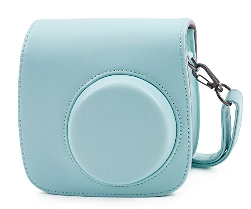 Phetium ICE Blue Protective Case for Fujifilm Instax Mini 9 Mini 8 Mini 8+, Soft PU Leather Bag with Pocket and Removable Shoulder Strap(Ice Blue)