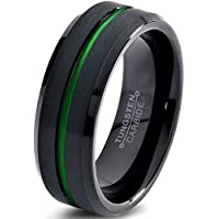 Chroma Color Collection Tungsten Wedding Band Ring 6mm for Men Women Green Black Beveled Edge Brushed Polished Center Line