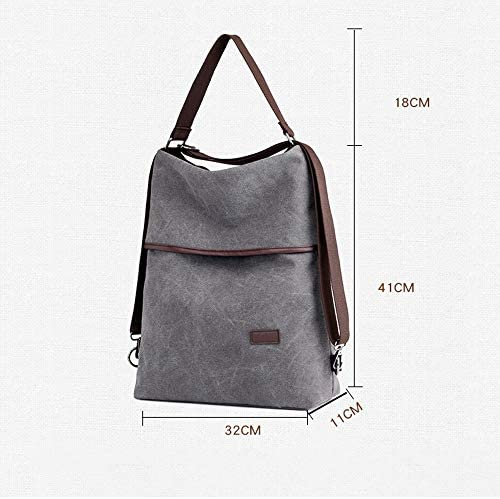 Handbag -Grande verticale Grigio Retro Casual Capacità Canvas Shoulder Bag for le signore, 32x11x41cm borsa a tracolla