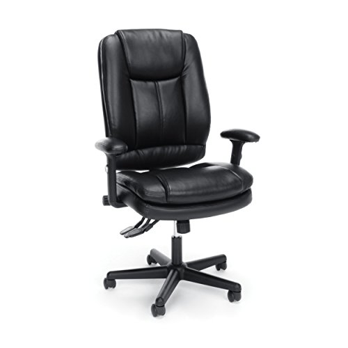 Essentials High Back Executive Chair -  Leather Office Chair with Adjustable Arms, Black (ESS-6050-BLK) (Back Adjustable Leather)