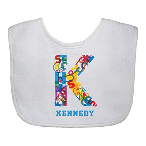Personalized Custom Alphabet Letter Block K Decoration Cotton Boys-Girls Baby Terry Bib Gingham Trim - White, One Size