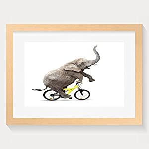 HEI Unique African Elephant Loxodonta Africana Riding A Bike Framed Wall Art Prints 16x20