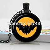 Pretty Lee 2015 New Black Bat Pendant Halloween Pendant Necklace Glass Photo Jewelry Personalized Picture Necklace