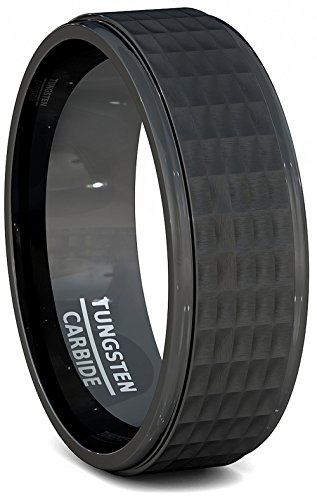 Solid Tungsten Ring 8mm Hammer Surface Comfort Fit Band - Tungsten Solid Ring