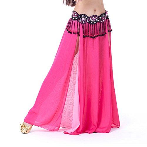 moresave mujeres alta hendidura gasa danza del vientre falda capas laterales falda vestido, mujer, Verde oscuro, talla única Rosa roja