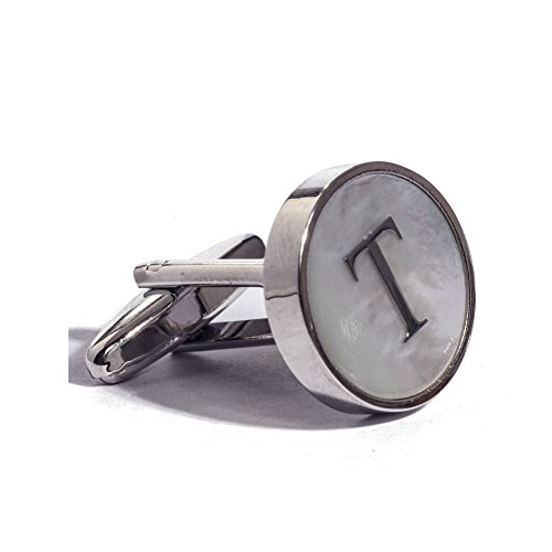 Digabi Initial Letter Cufflinks 18K White Gold Mother of Pearl T