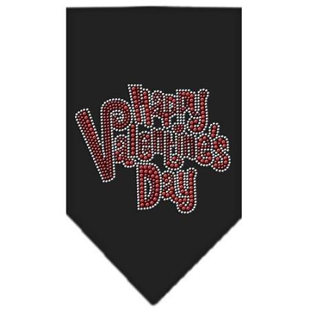 Mirage Pet Products Happy Valentines Day Rhinestone Bandana, Black, Large