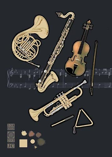 Blank Greeting Card (BA0585) Musical Instruments - Embossed with gold & holographic foil (Musical Foil)