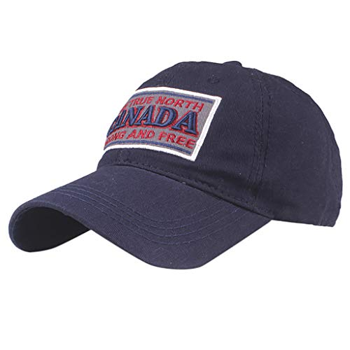 Mayunn Womens Mens Fashion Canada Letter Embroidered Flower Hat Denim Cap Baseball Cap Visor Cool Hat (Navy)